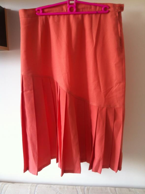 Brzoskwiniowa pomarańczowa spódnica długa eleganck...