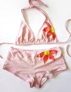 Jasnoróżowy strój kąpielowy z kwiatem M 38 bikini...