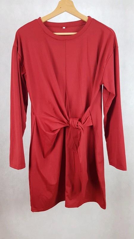 Nowa burgrundowa sukienka z wiązaniem w pasie L...