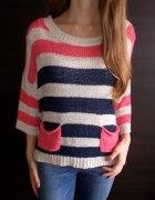 Sweterek w paski Sophie 36 S 38 M sweter oversize...
