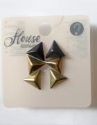 Kolczyki metaliczne trójkąty House czarne złote...