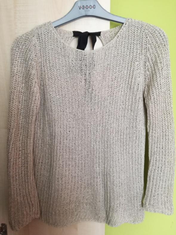 Sweter beżowy czarny na wiązanie Zara 38