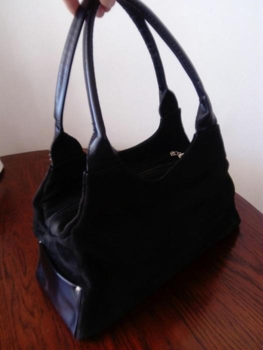 Torebki na co dzień Czarna skórzana torebka skóra naturalna zamsz