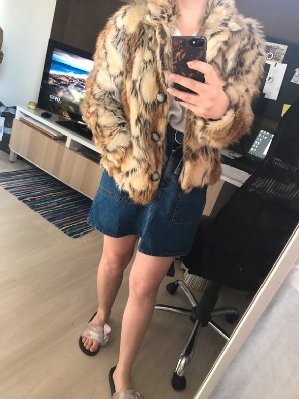 futrzana kurtka a la miś ekologiczna rozmiar XS S