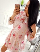 sexy sukienka flowers kwiaty zwiewna uni falbany różowa...