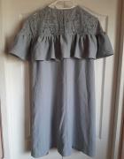 Sukienka z falbanka koronką H&M XL...