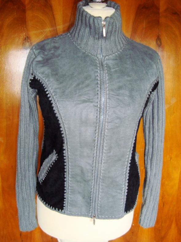 Sweter łączony z zamszem