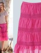 L NOWA Modna spódnica z koronkowymi wstawkami