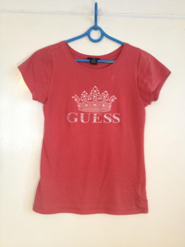 Guess jeans koszulka oryginalna używana uszkodzona korona dżety czerwona ceglasta