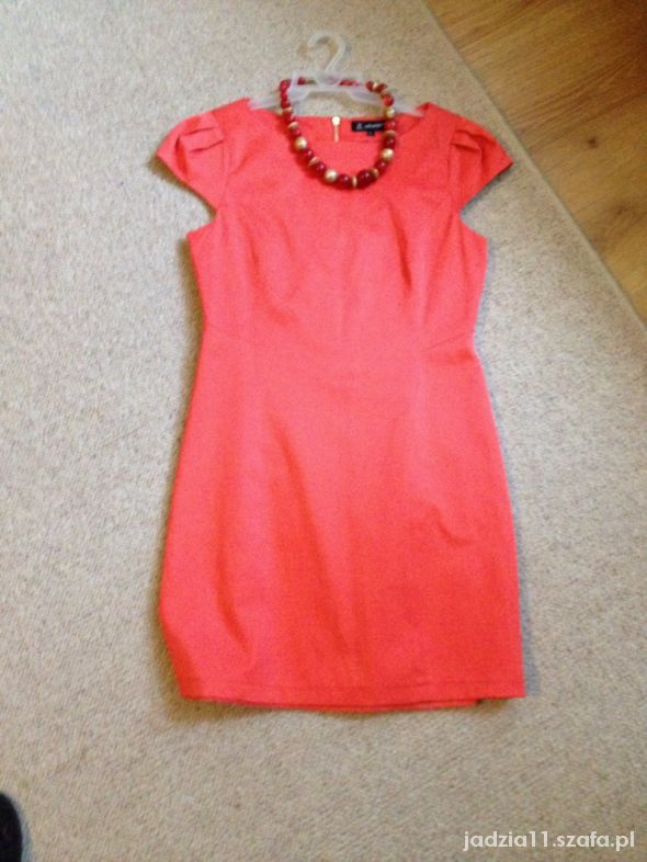 Suknie i sukienki piękna koralowa sukienka bufki zamek z tyłu na cał
