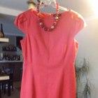 piękna koralowa sukienka bufki zamek z tyłu na cał