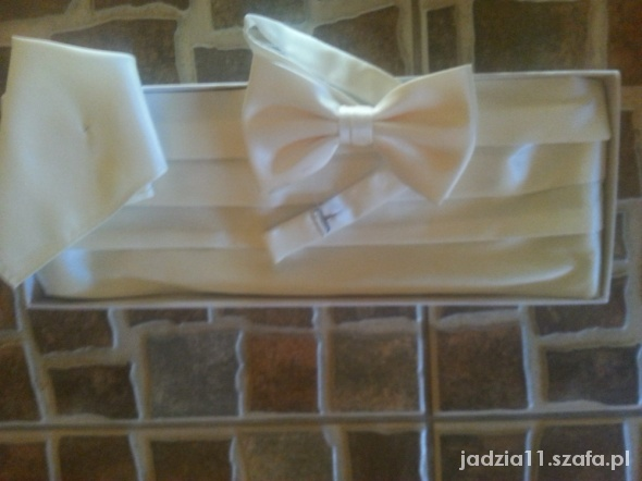 Krawaty i muchy piękne ecru muszka pas i wypustka do ślubu