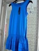 Niebieska sukienka z falbankami...