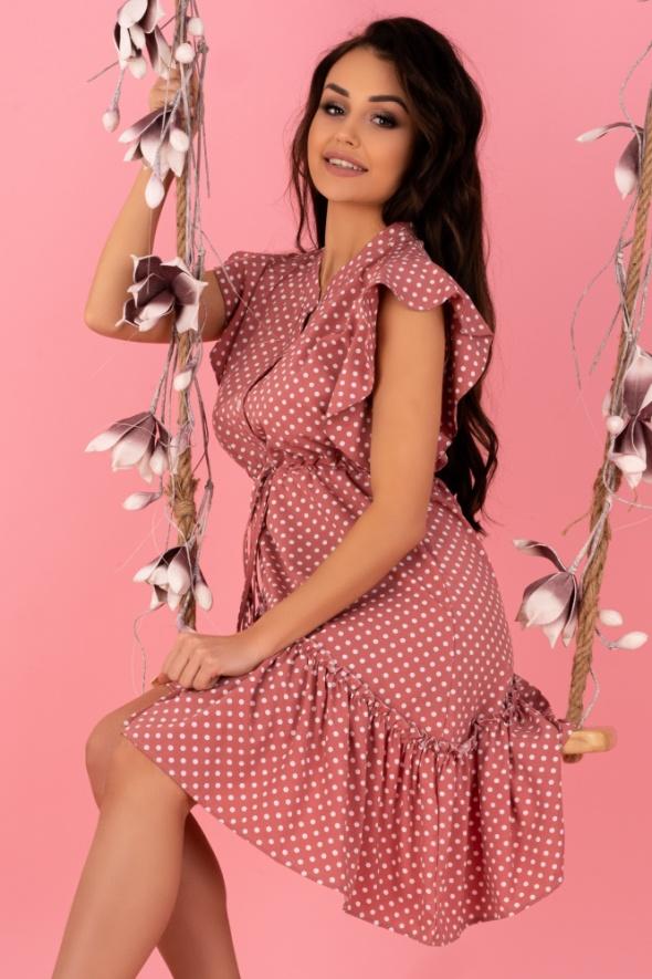 Asymetryczna sukienka falbana groszki różowa S M L...