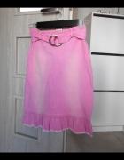 Nelly NLY spódnica midi jeansowa różowa pink pasek...