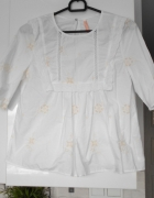 Zara biała bluzeczka hafty baby doll...