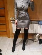 Srebrna dopasowana sukienka z długim rękawem Top shop 35