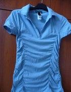 Niebieska z marszczeniami bluzka Mango