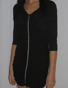 Czarna sukienka tunika zip zamek XS 34 S 36...