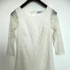 Sukienka Biała Koronkowa Dopasowana Ołówkowa Imprezowa Wieczorowa S
