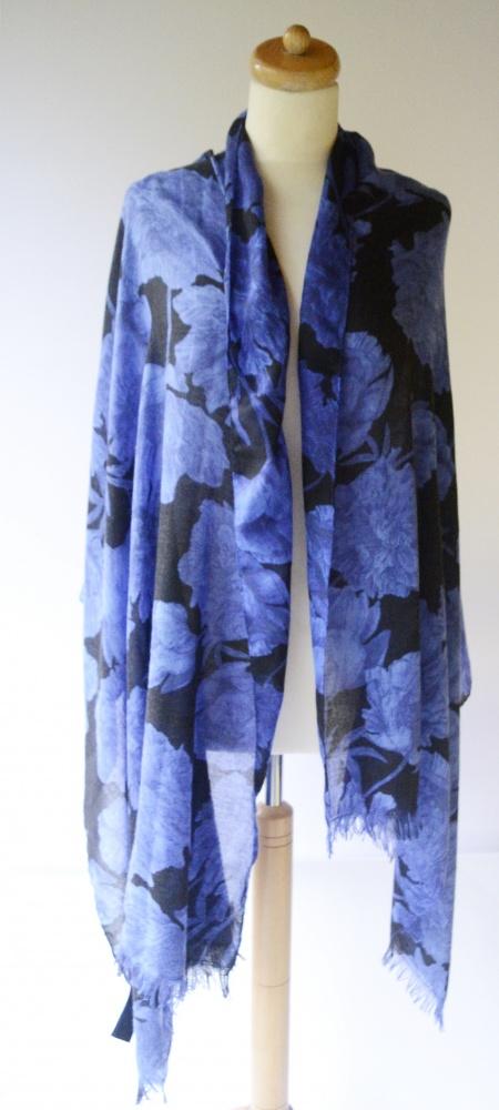 Szal Szalik Kobaltowy Kwiaty H&M One Size Narzutka XXL