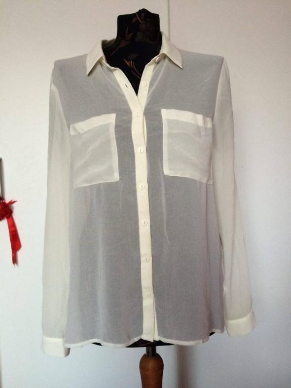 H&M mleczna koszula mgiełka kieszeniami kieszenie