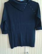Czarny sweter z odwijanym kołnierzem 36 S
