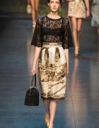 Nowa sukienka elegancka 40 L czarna koronka print
