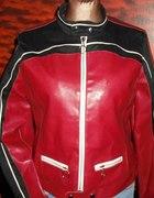 czerwono czarna kurtka skorzana