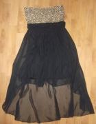 Piękna nowa suknia sukienka z dłuższym tyłem M L