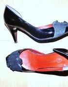 Buty czarne lakierki z zamszem szpilki 37...