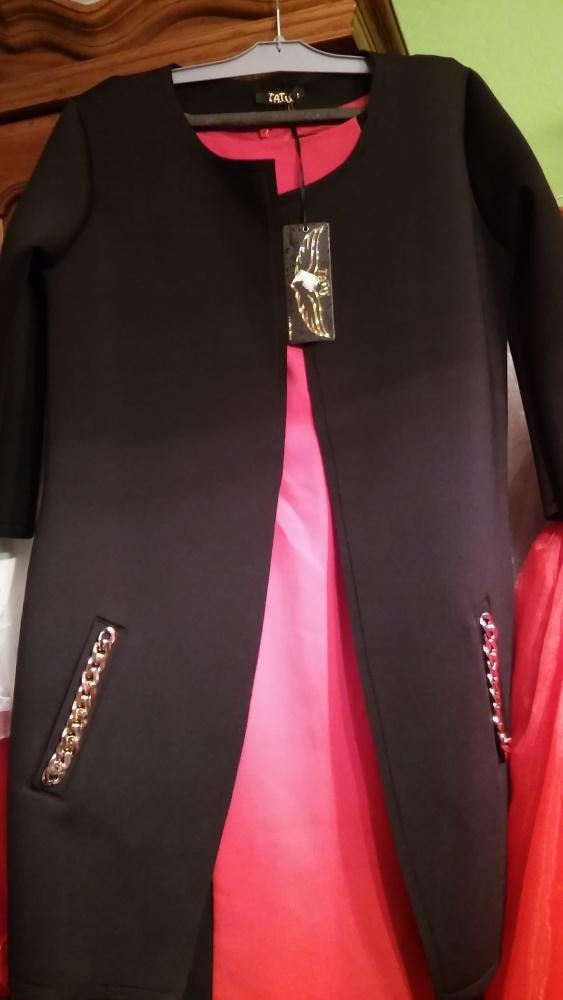 Długi żakiet płaszcz czarny S