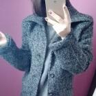 Płaszcz wełniany szary prosty z tkaniny boucle rozmiar S M