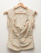 Retro bluzeczka w kwiatki zapinana na haftki dekolt vintage...
