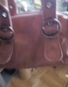 Karmelowa skórzana torebka do ręki...