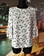 primark bluzka modny wzór ptaki ptaszki rękaw typu dzwon 38 M...