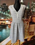 h&m sukienka modny wzór zip nowa casual 40 L...