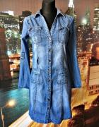 next sukienka jeansowa dżins guziczki casual 36 S...