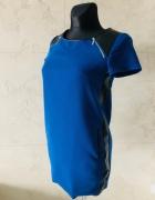 Granatowa sukienka tunika z elementami skóry firmy RESERVED 34 ...