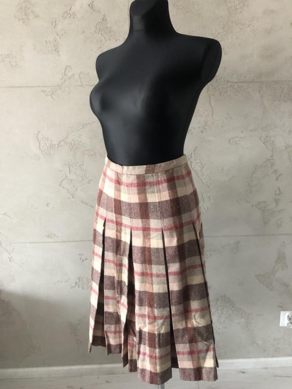 Spódnice Spódnica w kratkę kontrafałda długa brązowa beżowa