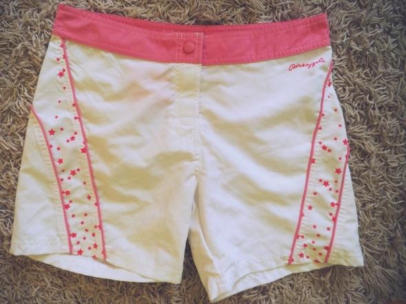 Spodenki szorty białe spodenki różowe wstawki sport NOWE