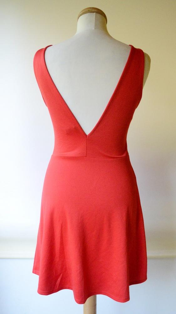 Sukienka Czerwona H&M Odkryte Plecy S 36 Rozkloszowana...