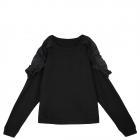 Top Secret czarna bluza z falbankami falbanka odkryte ramiona S 36 miś