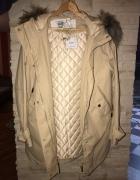 Mango parka kurtka płaszcz biszkoptowa futerko miss jacket prochowiec