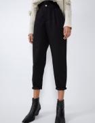 Zara czarne spodnie slouchy wysoki stan baggy guma w pasie Xs paperbag