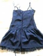 Granatowa z motylem elegancka wizytowa sukienka...