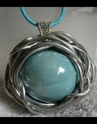 Projektowy wisior duża błękitna kula porcelana...