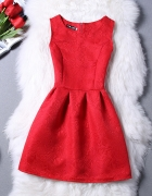 elegancka żakardowa seksowana czerwona sukienka L...