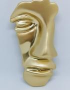 Modna duża broszka wisior twarz face maska kolor złoty...