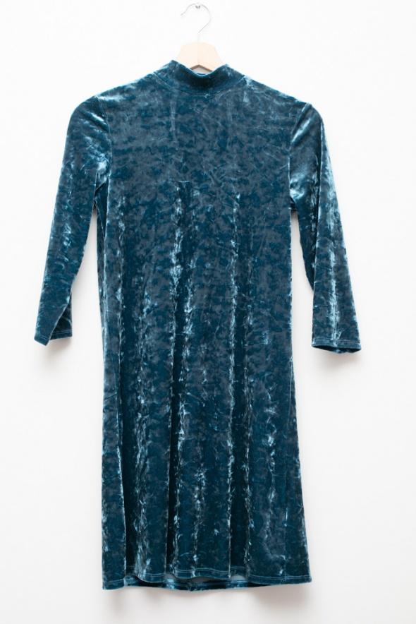 Suknie i sukienki Monki piękna welurowa sukienka niebieska retro vintage dekolt